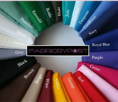 FabricByPost® 100% Cotton Plain Solid Colours Fabric Material Sold Per Metre