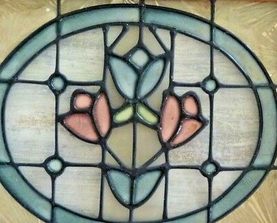 GORGEOUS Stained GLASS Wall Hanging ACCENT Tulips