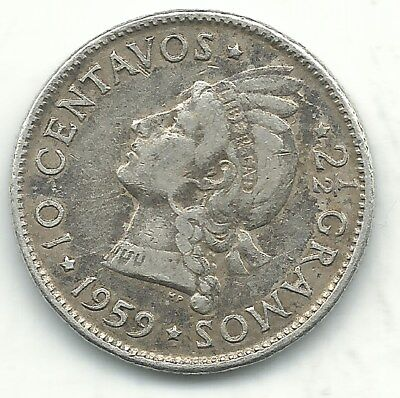 A Very Fine Vf 1959 Dominican Republic Silver 10 Centavos Coin-Dec034
