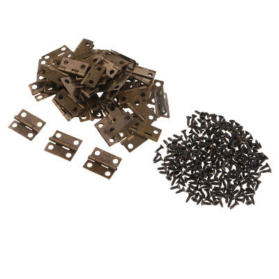 50x Antique Butt Hinges Small Cupboard Cabinet Box Door Fixing Tool 18x16mm