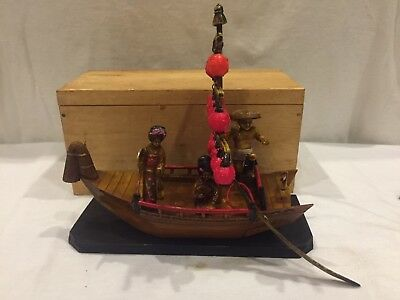 Vintage Japanese Celluloid Fishing Boat, Removable Sail & Paddle