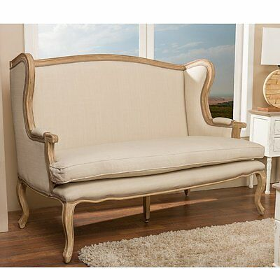 French Country Sofa Antique Oak Linen Settee Furniture 57'' x 40''H