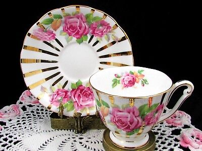 Queen Anne Pink Roses Gold Gilt Border Tea Cup And Saucer Teacup