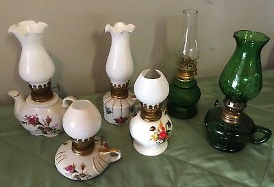 Antique Glass Miniature HURRICANE LAMPS - set of 6
