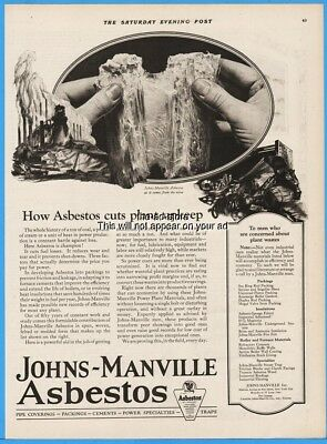 1922 Johns Manville Asbestos As It Comes From the Mine Vintage J M Print Ad