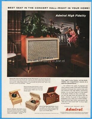 1956 Admiral Console Phonograph Chairside Table Model Portable Record Player Ad