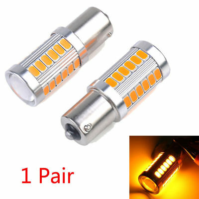 2Pcs Amber 1156PY BAU15S PY21W LED 33SMD Car Tail Turn Brake Reverse Signal Bulb