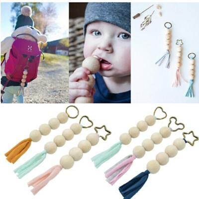Infant Cute Baby Teether Wooden Beaded Pacifier Holder Clip Baby Teether J
