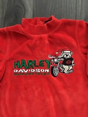 Harley Davidson Santa Baby Pajama Outfit 18 Months Red Velour Long Sleeve