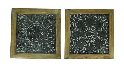 Embossed Metal Wood Frame Floral Medallion Wall Decor Set of 2
