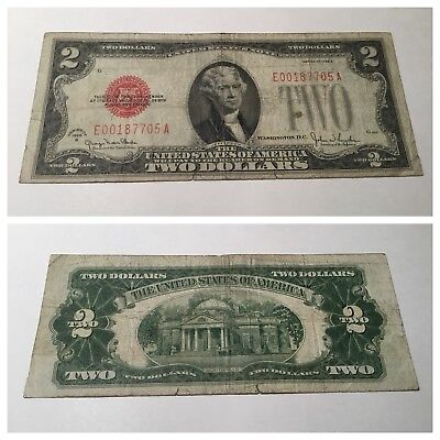 Vintage $2 United States Note 1928-G Two Dollar Jefferson Dollars Bill Red Seal