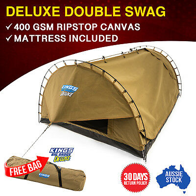 Kings Big Daddy Deluxe Canvas Camping Double Swag 1550mm Wide 70mm Mattress