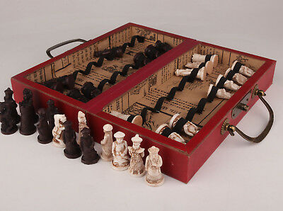 Vintage Old Leather Red Wood Box Chess Dragon Game Chess Card Gift