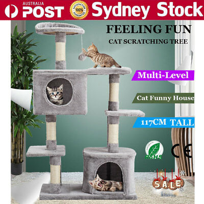 117cm Cat Scratching Tree Condo Tower Scratche Post Kitten Playhouse Pole Basket