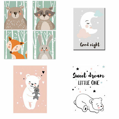 Home Decor Cartoon Animal Canvas Art Print Painting Wall Picture Unframed 2019