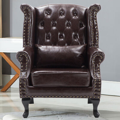Antique Armchair PU Leather Fireside Wingback Chesterfield Queen Anne Chair Sofa