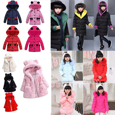 Kids Girls Winter Padded Warm Coat Jacket Fur Collar Outerwear Hooded For Child