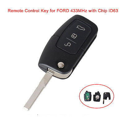 Remote Key Fob 3 Button 433MHz Chip 4D63 for Ford Focus Mondeo Fiesta S-Max