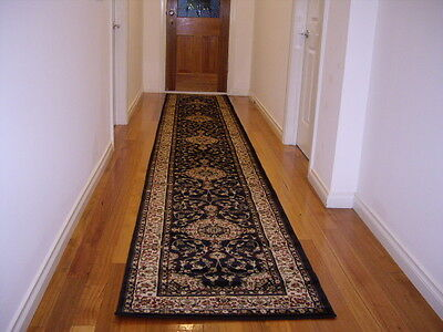Hallway Runner Hall Runner Rug 3 Metres Long Premium Quality Classic Black