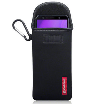 Shocksock Neoprene Pouch Case with Carabiner for Samsung Galaxy A7 2018 - Black