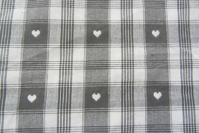 White /& Red Cotton Curtain//Craft Fabric Verbier  Hearts Gingham Grey
