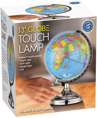 Illuminated World Globe 4-Way Touch Control Light-Up Table Lamp Chrome Xmas