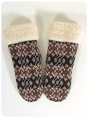 Gorgeous Vintage 1970'S Boho Hippie Aztec Mittens Mitts Gloves Faux Fur Lined