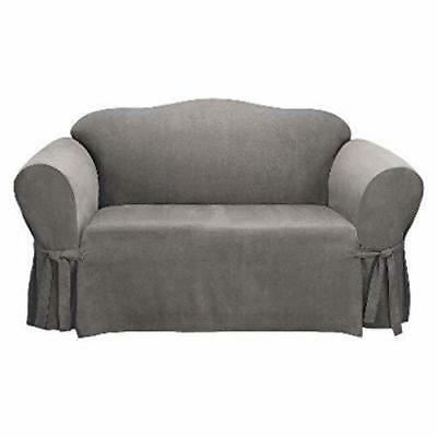 Groovy Sure Fit Suede Twill Loveseat Slipcover In Gray 44 97 Gamerscity Chair Design For Home Gamerscityorg