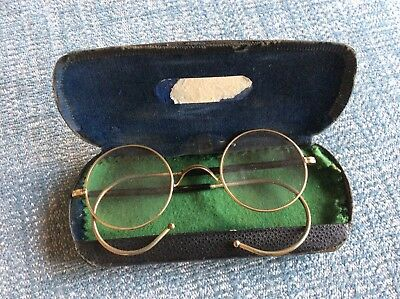 Vintage Pair Of Gold Plate Reading Glasses Spectacles With Original Case.