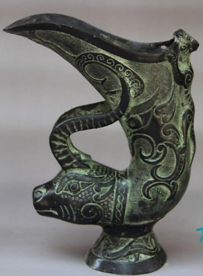 Chinese Folk Classical Bronze Carved Ox horn Beast Wine cup statue