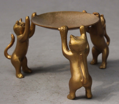 Ancient Asian Chinese Bronze Handmade 3 Cats Plate Statue Oil Lamp Candlestick