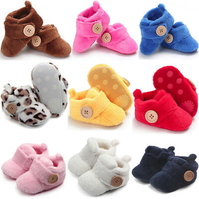 Baby Boy Girl Cotton Lined Warm Boots Crib Shoes Prewalker Soft Sneakers E0
