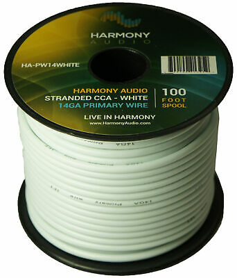 Harmony Car Primary 14 Gauge Power or Ground Wire 100 Feet Spool White Cable New