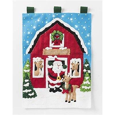 "Bucilla Felt Wall Hanging Applique Kit 15""x21.5""-santa's Reindeer Barn"