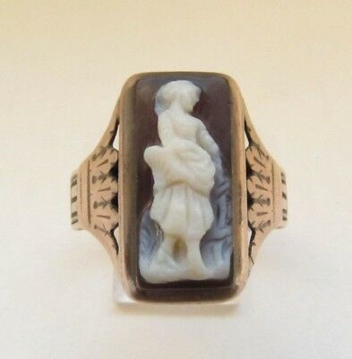 Antique Victorian 9Ct Gold Carved Sardonyx Hardstone Cameo Ring