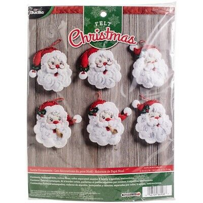 "Bucilla Felt Ornaments Applique Kit 4.5""x6"" Set Of 6-santa"