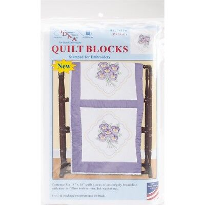 "Jack Dempsey Stamped White Quilt Blocks 18""x18"" 6/pkg-pansies"