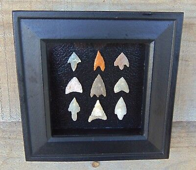 NF1) 6X6 Wood Framed Neolithic Artifacts display arrowheads points arrow head