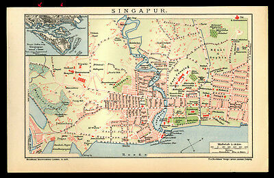 Original Lithographie-Tafel von 1903 Singapur Singapura Stadplan Old City-Map