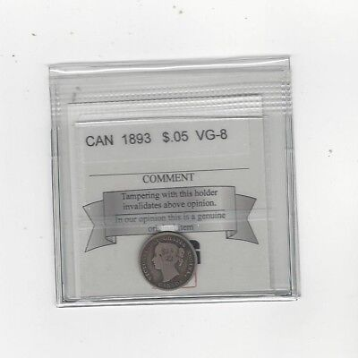 **1893**, Coin Mart Graded Canadian,  5 Cent, **VG-8**