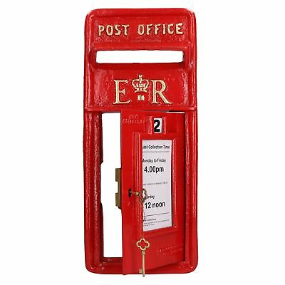 ER Royal Mail Post Box Wall Mount Replica Red Post Office Lockable GB Front