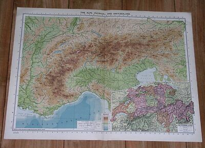 1940 Original Vintage Wwii Physical Map Of Alps / Switzerland Italy
