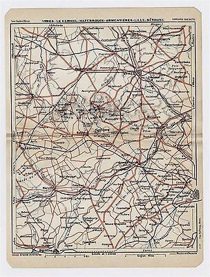 1930 Original Vintage Map Of Vicinity Of Lille Ypres Armentieres France Belgium