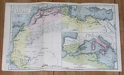 1907 Original Antique Map Of Africa Antiqua Morocco Libya Roman Empire Carthago
