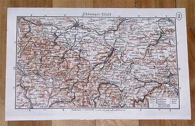 1937 Vintage Map Of Thuringian Forest Mountains / Thuringia Thueringen Germany