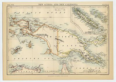 1886 Antique Map Of Papua New Guinea Bismarck Archipelago / New Caledonia