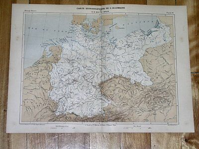 1888 Original Antique Malte-Brun Hydrographic Map Of Germany Poland Rivers