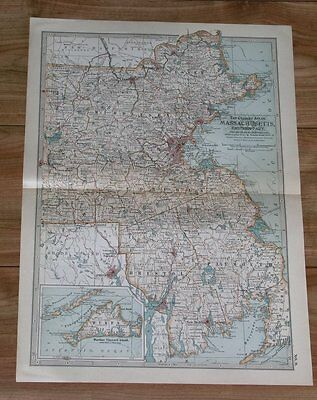 1911 Original Antique Map Of Eastern Massachusetts / Boston