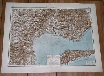 1908 Map Of French Riviera / Marseille Nice Cote D'azur France Monaco