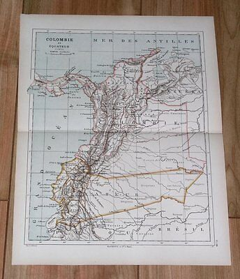 1887 Original Antique Map Of Colombia Panama Ecuador / South America